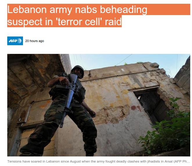 Lebanon army nabs beheading suspect in 'terror cell' raid