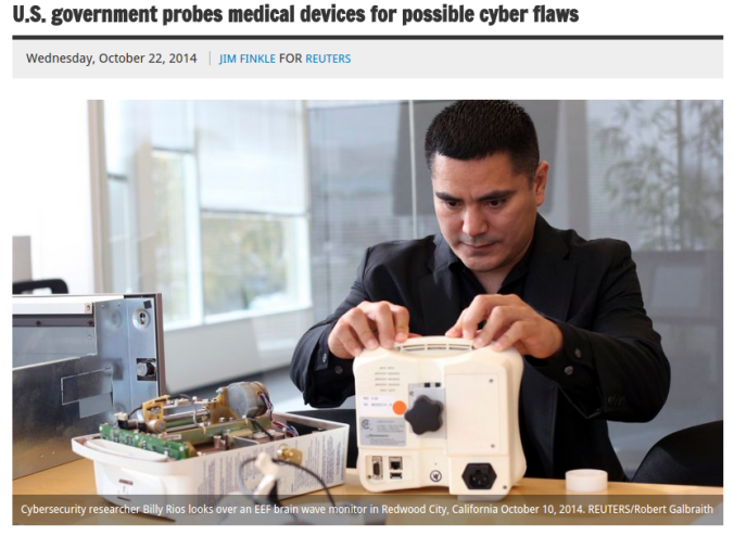 ' U.S. government probes medical devices for possible cyber flaws '
