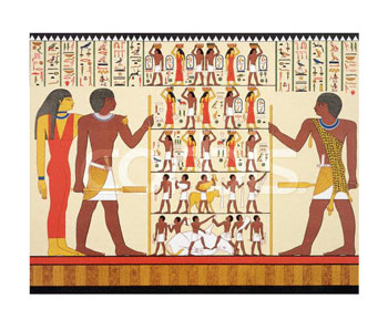HT008844~Wall-Painting-of-Egyptian-Pharaoh-and-Hieroglyphics-from-Tomb-24-Posters